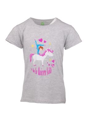 Kinder Voltigier T-shirt - grau melange Unicorn Volti mit Einhorn