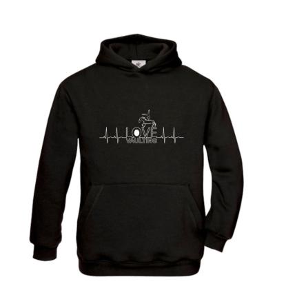 Hoody-Sweatshirt HERZSCHLAG - für Kinder + Erwachsene in 3 Farben
