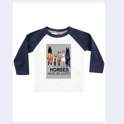 Baby / Kleinkind - Langarm T-Shirt - exclusiv Design Happy Horses