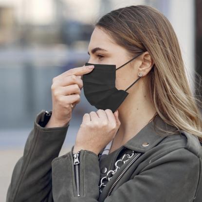 50er PACK / MNS TYP-IIR - schwarze Masken - Modell OP-Maske CE Norm - temporäres Zusatzangebot - Stück/ €0,50 !