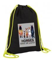 Gym bag - Design HAPPY HORSES - Cotton